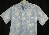 Cooke Street Men's Short Sleeve Hawaiian Aloha Reverse Print Blue White Floral L