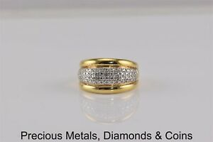Ross Simons Gold Sterling Silver Diamond Accented Rimmed Band Ring 925 Sz: 7