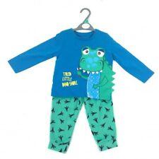 Ex Store Boys Tired Little Dinosaur Blue Pyjamas Sleepwear Age 2 3 4 5 6 Years