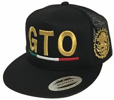 GUANAJUATO MEXICO  EMBROIDERY HAT  IN 3D 2 LOGOS  MESH TRUCKER BLACK SNAP BACK