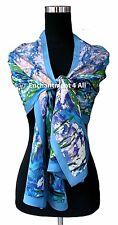 "Oblong Handmade 100% Silk Art Scarf Wrap Handrolled w/ Monet's ""Water Lilies"""