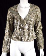 HAUTE HIPPIE $1,650 Nude & Gold Sequin Beaded Embellished Jacket XS