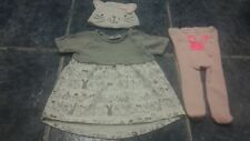 Baby girl bunny dress, hat & tights set size 0-3 mths by NEXT