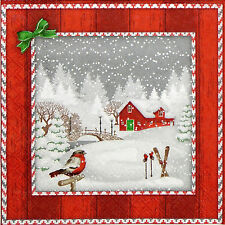 4x Paper Napkins for Decoupage Snowfall Red Bungalow