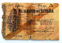 Spain-GUERRA CIVIL. Billete. 5 pesetas 1936. Banco de España. Gijón. Circulado.