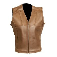Ladies Brown Fitted Leather Vest - Size 6 TRA-2