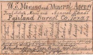 1891 UX9 Postal Card Cover Fairland DPO Burleson County Texas - Mines, Mining