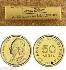 Greece  Greek 50  Lepta    coin roll KM# 115  Year  1980    UNC BU