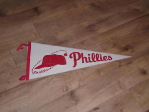 1960's PHILADELPHIA PHILLIES FULL SIZE BASEBALL PENNANT COLORFUL EX-MINT