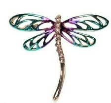 BROOCH Gold Purple Green Dragonfly Brooch with Rhinestones Mothers Day Gift