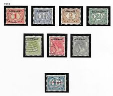 Netherlands stamps 1913 NVPH D1-D8  CANC/MLH  Armenwet  VF  Cat Value $285