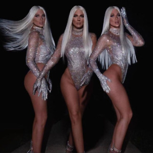 Shiny silver rhinestone transparent long-sleeved bodysuit stage dance costume