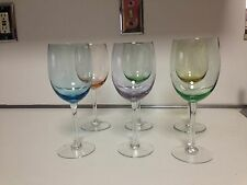 CIRCLEWARE WITH MULTI-COLORED  BOWLS WINE GLASS SET - 13 OUNCES - 6 TOTAL