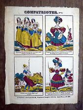 COMPATRIOTES c1830 LACOUR Nancy Thiébault IMAGERIE POPULAIRE Satire HUMOUR Femme