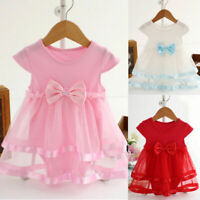 Child Girl Infant Birthday Tutu Bow Wedding Party Jumpsuit Princess Romper Dress