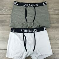 2 X SoulCal Mens Boxers Shorts Underwear Size X LARGE White Grey R123-3