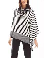 J Jill Poncho Top Soft Chic Easy Black Cream One Size M,L,XL,1X $99 New!!