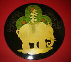 RARE Old Vintage Mongolia WALL PLAQUE PAINTED guard elephant