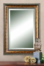 Large Dark Gold Wall Mirror Antique Masculine Wood