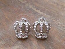 Studs, Princess, Royalty, Us Seller Silver Rhinestone Crown Earrings, Jewelry,