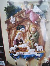 Christmas Bucilla Felt Applique Holiday Kit,MANGER WALL HANGING,Nativity,85331