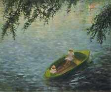 Metal Sign Young Girls In A Boat On The Marne A4 12x8 Aluminium