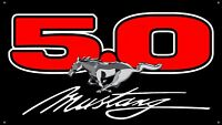 """Ford Mustang GT 5.0 black 36""""x64"""" VINYL BANNER Muscle Car MAN CAVE GARAGE SIGN"""