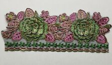 2 flowers 3D Colourful Embroidery Applique Motif Lace Trim - EB0388 Haberdashery