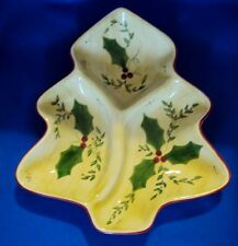 Christmas Los Angeles Pottery Laurie Gates Design Holly Berry Divided Plate