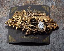 1994 Jewelry By Ramona Hair Barrette NOC Clock FLower Design Brass Tone Metal