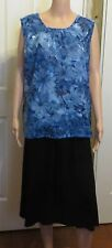 Ladies Blue Floral no sleeve Blouse size  14