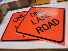 "Lot of 2 Corrugated One Lane Road Sign Orange/Black 24"" x 24"" x 3/8"""