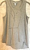 3.1 Phillip Lim for Target Sleeveless Studded Asymmetrical Tank Top Gray Sz S