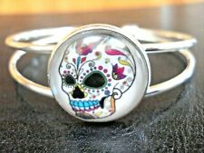Cabochon Split Band Cuff Bracelet Beautiful Silver Tone Skull Themed