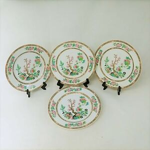 "Lenox Dinner Plates Indian Tree Pattern Pink Floral Gold Trim 10.5"" Set of 4"