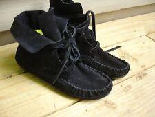 Women's Black Suede Bootie Moccasins Ankle Boots Size 10 M 40 EU MINT Cond!