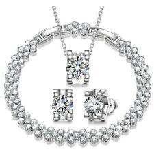 Qianse Jewelry Set. Women Snow Queen Necklace Bracelet Earrings Swarovski Nib.