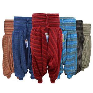 Womens Harem striped Trousers Alibaba Hippie baggie Boho Yoga wide leg stretched