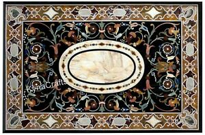 30x60 Inches  Marble Sofa Table Marquetry Art Dining Table Top for Living Room