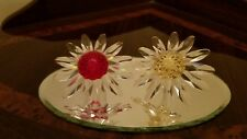 2 Swarovki Collector Society Renewal Gifts Red & Yellow Cake Topper Flowers