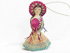 MEXICAN FOLK ART WOMAN WITH HAT AND SCARF WOVEN BASKET STRAW BELL UNDER DRESS