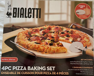 Bialetti 4pc Pizza Baking Set,Stone,Serving Rack,Wooden Pizza Peel, Pizza Cutter