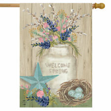 WELCOME SPRING EASTER EGGS FLOWERS STAR PRIMITIVE  HOUSE FLAG 28X40 BANNER