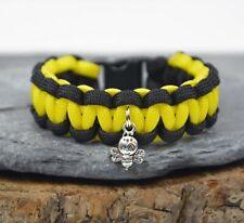 """Child's Paracord Bracelet - Bee Charm Friendship Bracelet - 7"""" - Handmade in UK"""