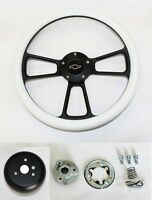 "14"" White Grip Black Spoke Steering Wheel Shallow Dish for GM Column Bowtie Cap"