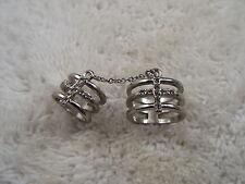 Silvertone Rhinestone Cross Double Chained Rings - Size 8 & 3 (C51)