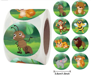 """30 ANIMAL KIDS CRAFT ENVELOPE SEALS LABELS STICKERS 1.5"""" ROUND FAST SHIPPING"""