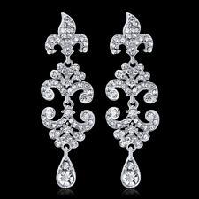 Dangling Rhinestone Crystal Rhodium Plated Woman Bridal Antique Stud Earring