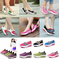 Women Slip On Casual Canvas Sneaker Breathable Running Walking Platform Shoes