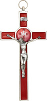 8'' IN Red Enamel Crucifix with Epoxy Holy Spirit Wall Cross With Silver Tone Co